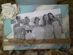 painted frame with bow and twine