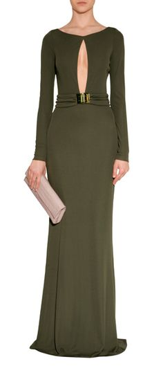 Olive Cut-Out Jersey Evening Gown & each/Rose Patent Leather/Leather Turnlock Sandals - EMILIO PUCCI    Shiny Blush Crocodile Fold-Over Clutch  NANCY GONZALEZ