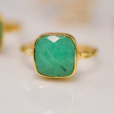 Chrysoprase Ring with natural black inclusions - Gemstone Ring  - Bezel Ring - Stackable Ring. $46.00, via Etsy.