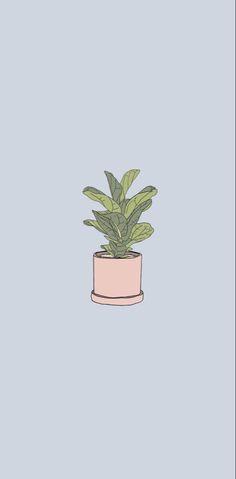 Pink blue plant illustration