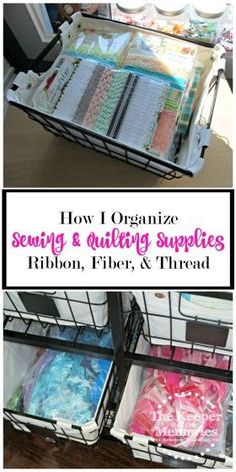 Organizing sewing & quilting supplies, especially ribbon, fiber, & thread can be difficult. Check out this awesome solution. Love it!