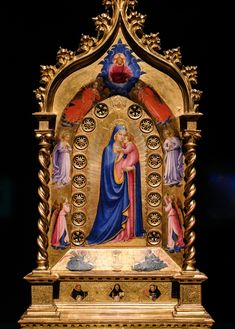 Fra Angelico, The Madonna della Stella (Madonna of the Star), Predella: Saint Dominic Flanked by Saints Peter Martyr and Thomas Aquinas c Fra Angelico, Italian Renaissance, Renaissance Art, Saint Dominic, Gardner Museum, Thomas Aquinas, Hail Mary, Medieval Art, Blessed Mother
