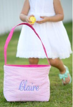 Pink Seersucker Easter Basket by BYCsdesign on Etsy