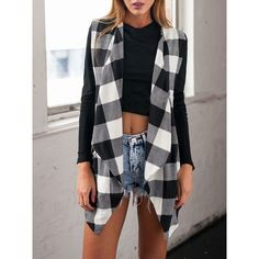 Black White Long Sleeve Plaid Coat (€11) ❤ liked on Polyvore featuring outerwear, coats, black and white plaid coat, black white coat, black white plaid coat, black and white coat and tartan coat