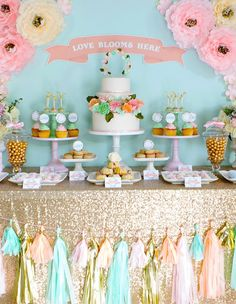 Pastel Candy Buffet, Dessert Buffet, Chalkboard Cake Wedding, Cake Table Decorations, Pastel Bridal Shower, Pastel And Gold Party. ""