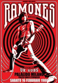 RAMONES Uk Subs 16 February 1980 Milan Italy door tarlotoys, - very cool poster Rock And Roll, Rock Posters, Ramones, The Beatles, Concert Rock, Vintage Music Posters, Retro Posters, Fantasy Anime, Joey Ramone