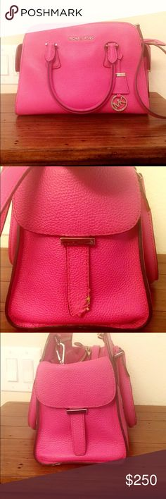 🎀Beautiful MK pink bag🎀 Beautiful bag but it smells a little like smoke and it has a cigarette burn inside. Ask questions please. 🎀it's a beautiful authentic bag sides are fixed😊  open to offers and fair trades. TV250 Michael Kors Bags Satchels