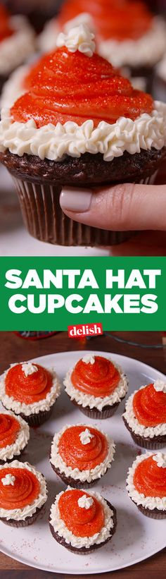 Santa Hat Cupcakes = too cute for Santa. Get the recipe from Delish.com.