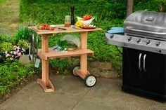 Follow our step-by-step instructions (and watch the video how-to) for this simple rolling grill cart made with cedar boards and lawn-mower wheels.