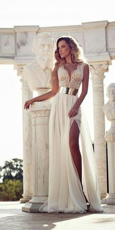 New Arrival A-line Beaded Bodice Gold Sash Prom Dress Ivory Chiffon Beach Wedding Dress APD1597 on Storenvy