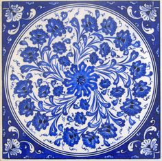 NEW LISTING! Beautiful Large Blue and White Traditional Turkish/Islamic Ceramic Kutahya Tile
