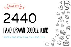 2440 Hand Drawn Doodle Icons Bundle by Creative Stall on @creativemarket -- icon inspiration