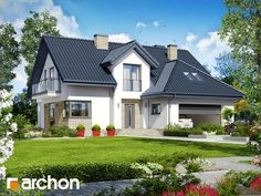 Projekt: Dom w kortlandach on Behance Attic House, House 2, Small Country Homes, House Elevation, Design Case, Home Reno, Pool Houses, Home Fashion, Bungalow