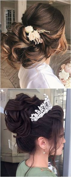 Wedding Hairstyles Updo Long wedding updos and hairstyles from Elstile Quince Hairstyles, Easy Hairstyles For Long Hair, Bride Hairstyles, Retro Hairstyles, Party Hairstyles, Wedding Hair And Makeup, Wedding Updo, Bridal Hair, Wedding Dress