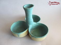 Three Bowl Server  Green and Yellow by MudbugCreations on Etsy, $22.00