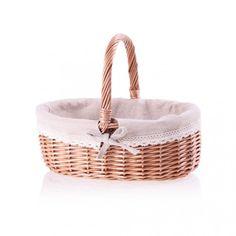 Wielkanocny rozłożysty koszyk z klasycznej wikliny, ozdobiony płócienną tkaniną i koronką, Home & You