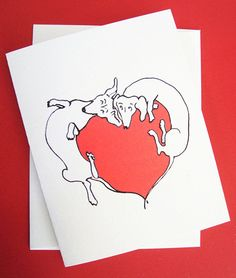 Dachshund Valentine Love Card by April Sage