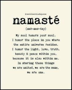 Learn more about what it means when you say  - Namaste