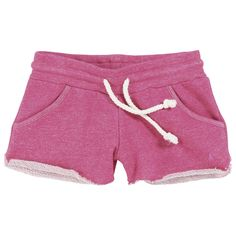 Raspberry fleece shorts with an elasticated waistband. Side pockets. Drawstrings to tie at the waistband. Rolled trims.