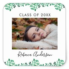 Green Watercolor Foliage | Photo Graduation Square Sticker - graduation stickers diy cyo party Graduation Stickers, Graduation Gifts, Customized Gifts, Personalized Gifts, Green Watercolor, Diy Stickers, Cool Diy, Cool Gifts, Party Themes
