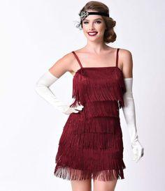Unique Vintage Burgundy Speakeasy Tiered Fringe Flapper Dress