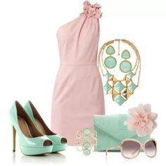 Vestido verde agua y rosa palo