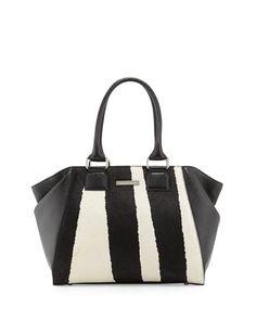Lovi Leather Zebra-Print Calf Hair Tote Bag, Black by Charles Jourdan at Neiman Marcus Last Call.