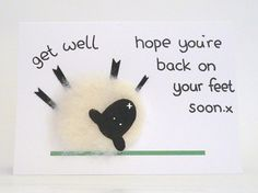 Handmade needle felted get well soon greeting card (blank inside). x