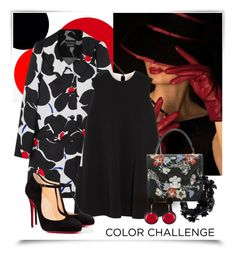 """""""My flower coat ~Black & Red~"""" by gangdise ❤ liked on Polyvore featuring Boutique Moschino, Roksanda, Christian Louboutin, Alexander McQueen, Marni and Valentino"""
