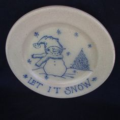 """Salmon Falls Pottery Christmas Plate """"Let it Snow"""" by WillowLaneGallery on Etsy"""