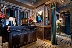 We created an eye-catching bespoke terrazzo floor for London's quirkiest restaurant Bob Bob Ricard. Restaurant Entrance, Restaurant Bar, Restaurant Interiors, Bob Bob Ricard London, Hotel Reception Desk, Metal Cladding, Hotel Lobby, Commercial Design, Of Wallpaper