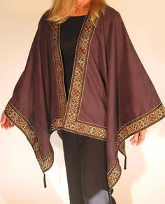 Charcoal Gray Cape/Poncho with Tapestry Boarder by LindaPotichke, $250.00 Very Expensive!