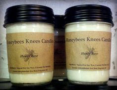 Honeybees Knees 'Honey Rose' Soy Blend Candle (8oz) with WOODEN wick. $12.75, via Etsy.