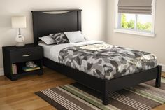 Step One Twin Platform Bed & Headboard in Pure Black by South Shore. $394.04. Does not include night stand. Adult assembly required. This item's packaging is ISTA 3A-certified to ensure its integrity and your total satisfaction. Manufactured from laminated particle board. Ready to assemble. This sleek bedroom collection offers up modern lines that create that sought-after clean, contemporary bedroom look. This European-inspired, full headboard with Its geometric lines wi...