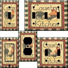 Country Kitchen Decor new set of 2 country rooster wooden wall pictures prints art