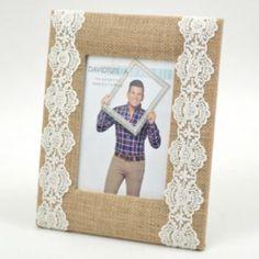 David Tutera Burlap Crochet Lace 5'' x 7'' Frame