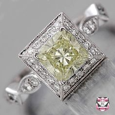 Art Deco Engagement Ring Princess-cut Diamond