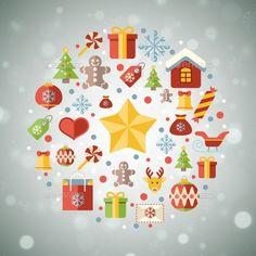 Vintage christmas greeting card, icons and symbols, christmas tree, snowflakes, gift box, santa elements vector background
