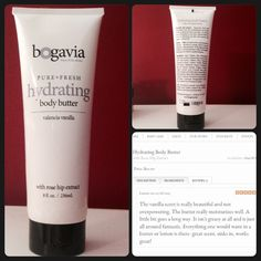 """Bogavia Hydrating Body Butter - Valencia Vanilla Bogavia hydrating body butter with rose hip extract in Valencia Vanilla scent. The scent of this body butter is to die for! Light, fresh, and relaxing! This is hard to part with - I used it MAYBE 3 times, but I'm more of a lotion on the go person. This is definitely more of a body """"butter"""" - thick, creamy lotion that drys nicely, not oily at all, but more of a bedtime or after bath lotion, in my opinion. Retails for $20 + tax in store; $20…"""