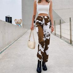 May 2020 - Pocket Camouflage Cow Printed Cargo Pants SF – loveitbabe 90s Fashion, Fashion Outfits, Womens Fashion, Fashion Trends, Cow Outfits, Cow Print, Looks Vintage, Aesthetic Clothes, Diy Clothes
