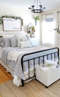 Simply Farmhouse Master Bedroom Design Ideas You're Dreaming of 58 Apartment Bedroom Decor, Home Bedroom, Modern Bedroom, Bedroom Furniture, Modern Furniture, Rustic Furniture, Antique Furniture, Outdoor Furniture, Spare Bedroom Decor