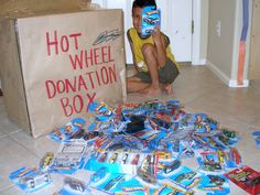 Cute Idea. Make a note on the invite for everyon to bring a hotwheels car for the Birthday Boy/Girl.