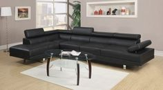 Hollywood Black Eco Leather Adjustable Sectional Sofa with Armless Chair and Left Facing Chaise Living Room Sets, Living Room Decor, Living Spaces, Leather Sectional, Sectional Sofa, Black Sectional, Leather Furniture, Cool Furniture, Furniture Ideas