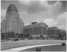 Chase Park Plaza Hotels at the intersection of Kingshighway Boulevard and Lindell Boulevard seen from Forest Park. (1930)