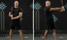 The steel club side push press is similar to the side clean, except you'll finish the movement by locking out your arms at shoulder height. Arms, Training, Australia, Exercise, Club, Workout, Steel, Shoulder, Fitness