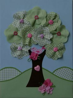 Items similar to Sweet Tree – A Fabric Collage on Stretched Canvas on Etsy - handmade crafts Sewing Appliques, Applique Patterns, Applique Quilts, Applique Designs, Quilt Patterns, Embroidery Designs, Fabric Art, Fabric Crafts, Sewing Crafts