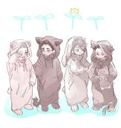 Oikawa / Iwaizumi / Hanamaki / Matsukawa - 모기들 빨리 다 죽어주세요 동물잠옷 동물은 솖님이 정해주셨어요~ (o ^0^ )o