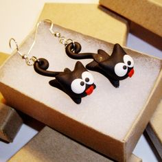 Hanging Black Cat Earrings