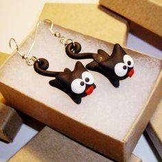 Hanging Black Cat Earrings