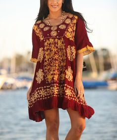 Look at this #zulilyfind! Burgundy & Gold Embroidered Tie-Dye Shift Dress #zulilyfinds